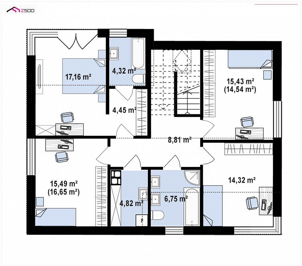 Второй этаж 91,3 м² дома Z408