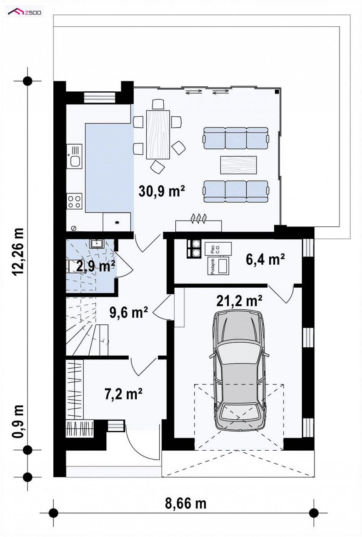 Первый этаж 78,2 м² дома Zb30