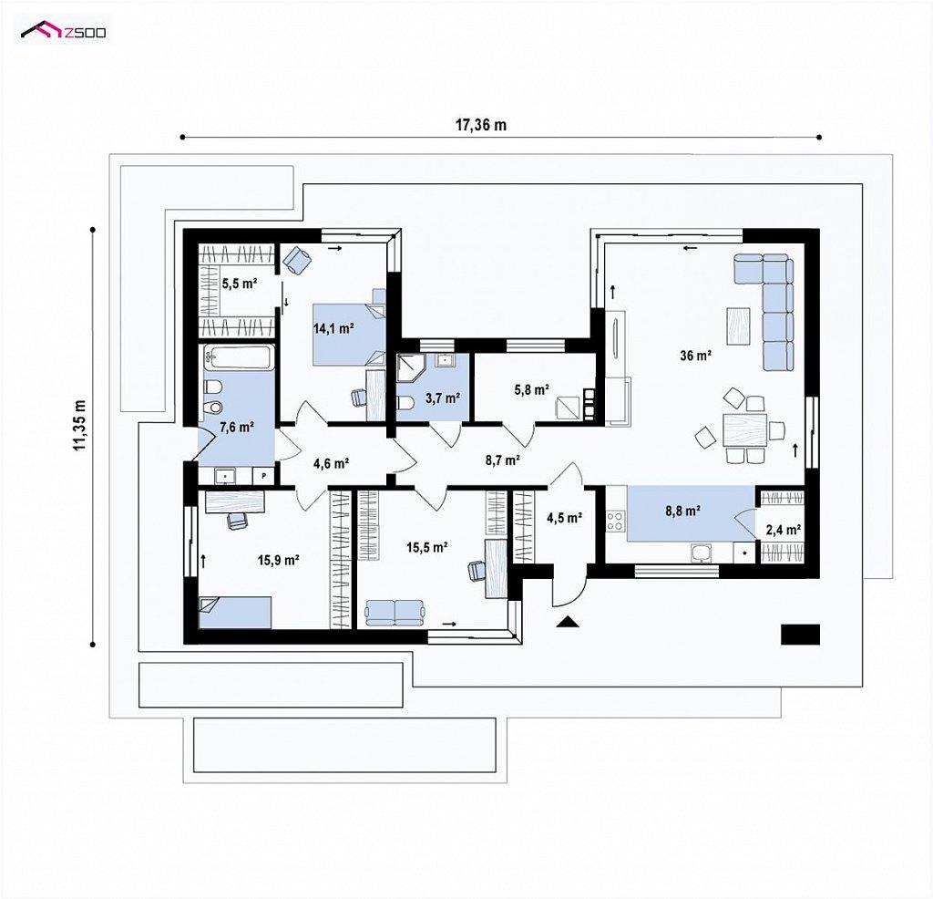 Первый этаж 133,1 м² дома Zx149