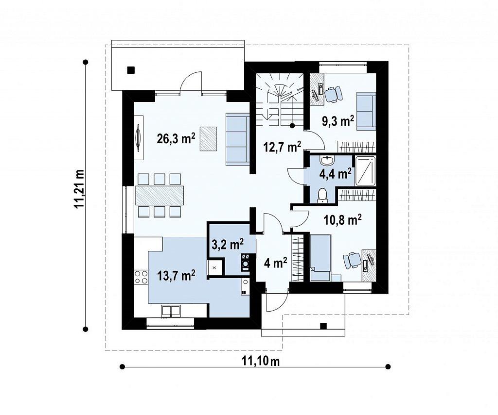 Первый этаж 84,4 м² дома Zz1