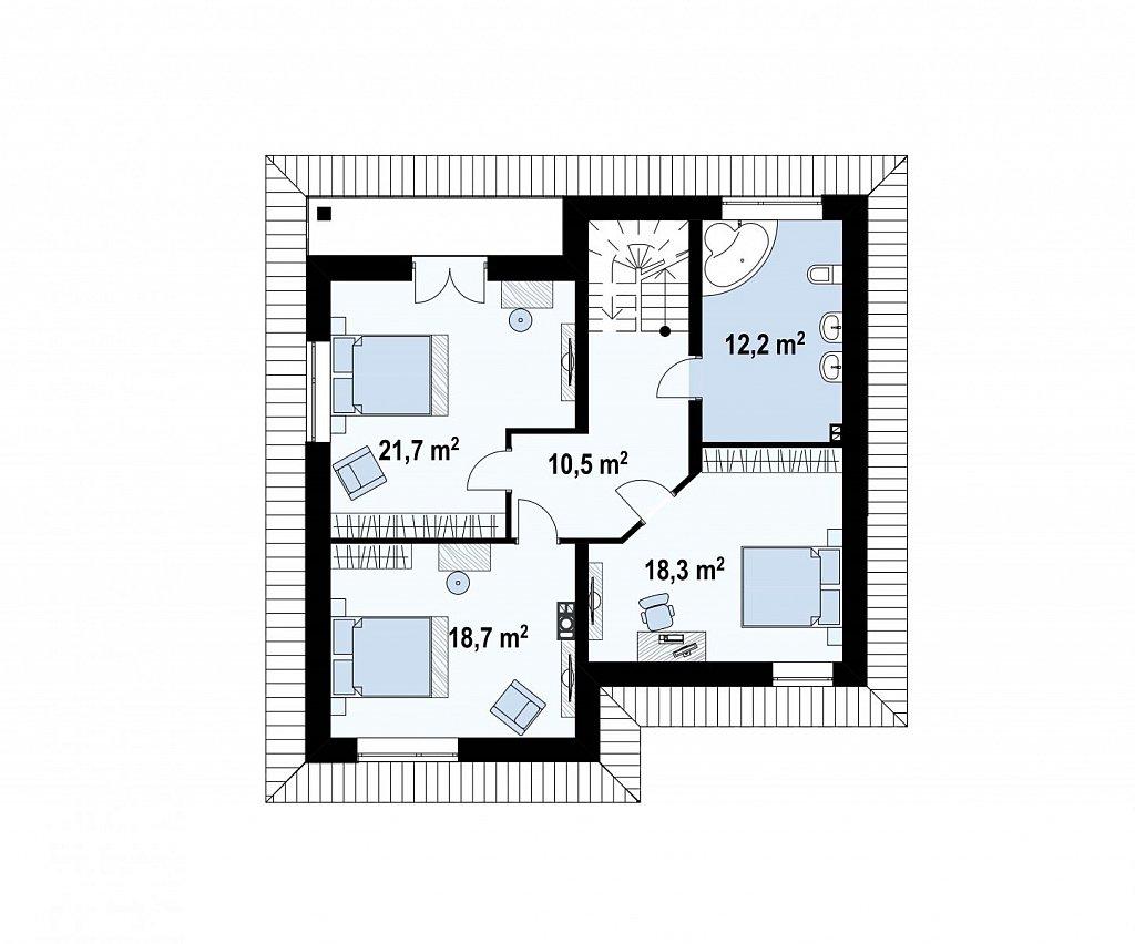 Второй этаж 81,4 м² дома Zz1