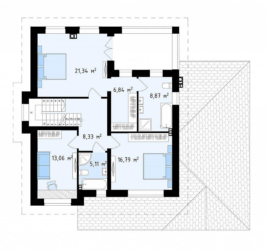 Второй этаж 80,3 м² дома Zz2S