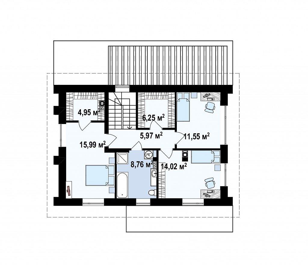 Второй этаж 67,5 м² дома Zz4