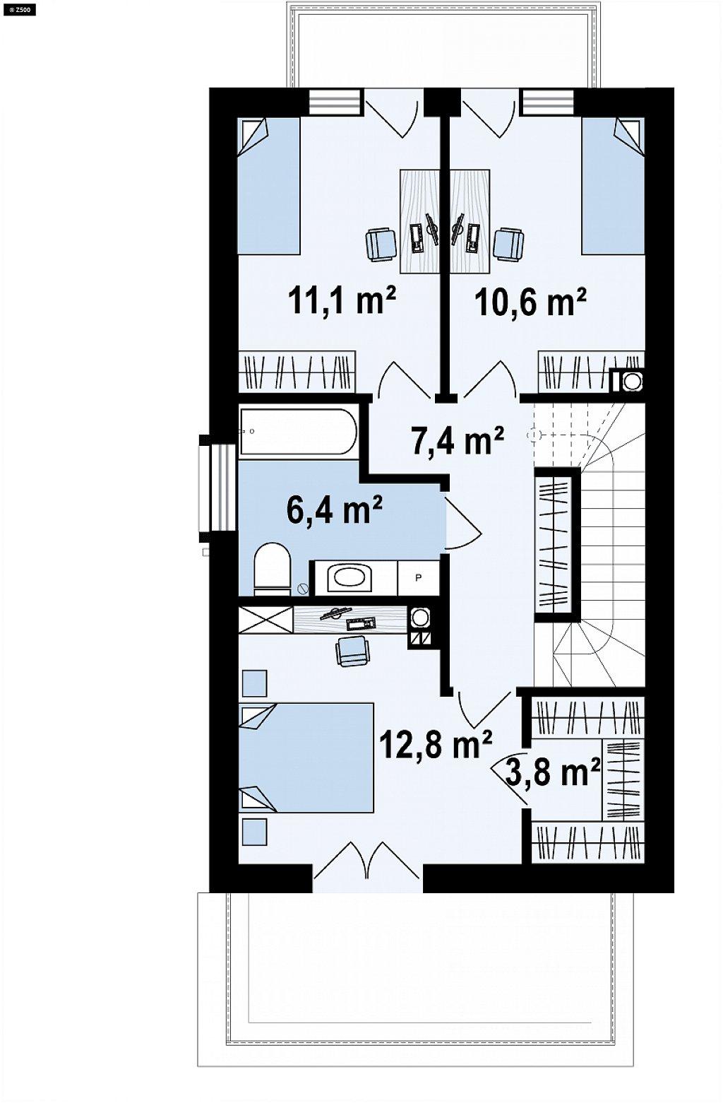 Второй этаж 51,1 м² дома Z374