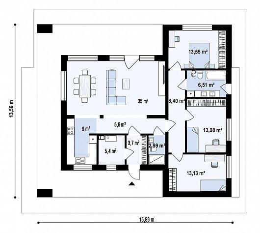 Первый этаж 113,5 м² дома Zx83