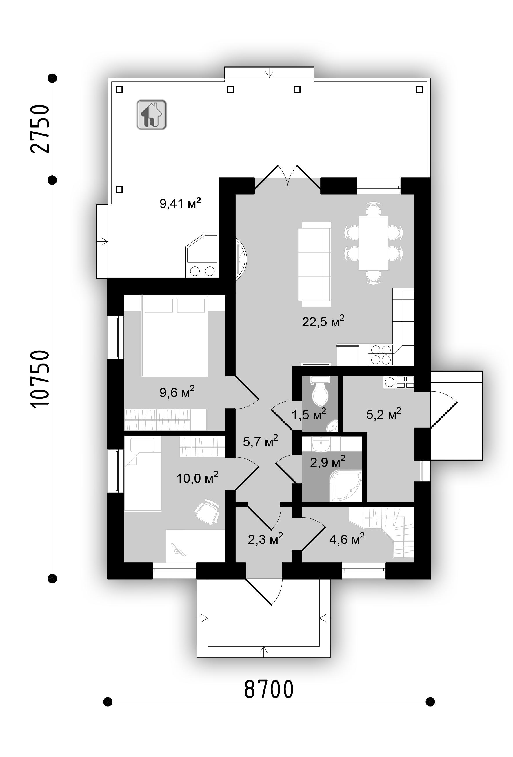 План первого этажа дома ZH22