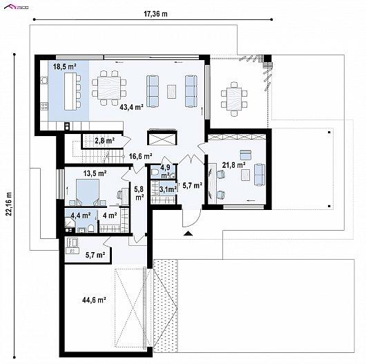 Первый этаж 191,3 м дома Zx154