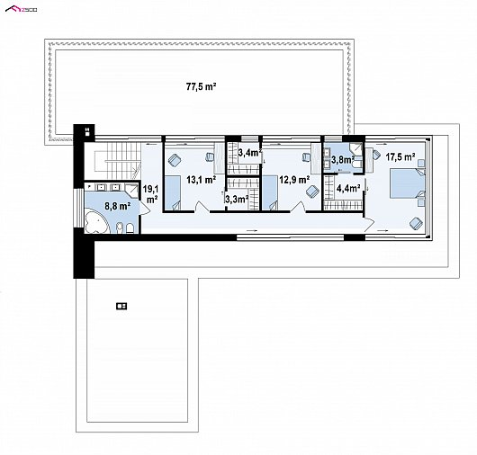 Второй этаж 85,2 м дома Zx154