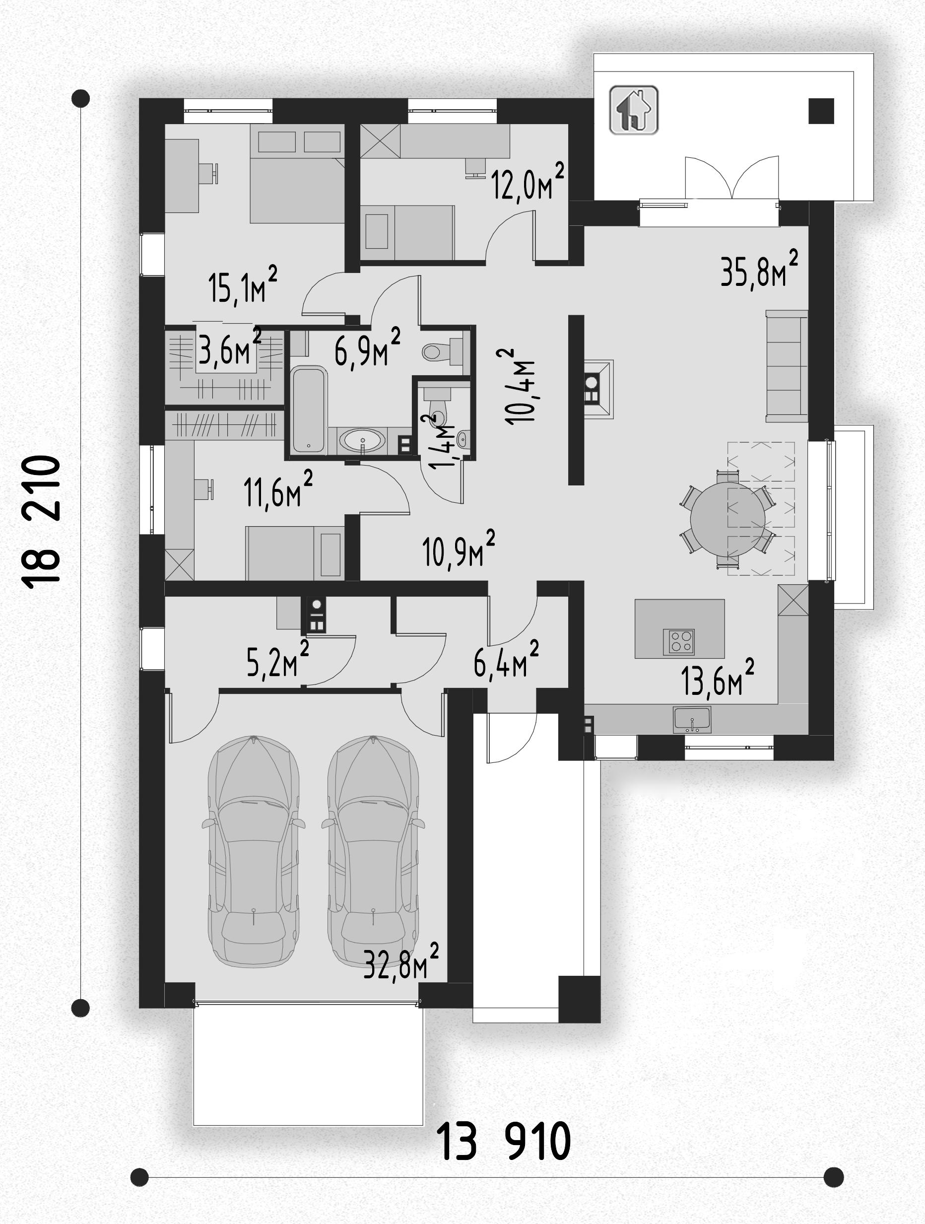 План первого этажа  дома ZH21