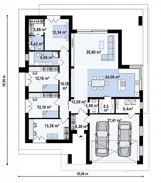 Первый этаж191,1 м² дома Z412