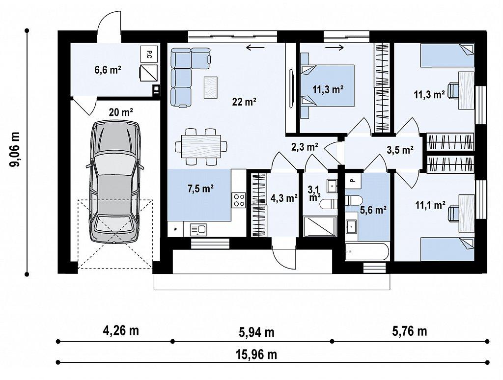 Первый этаж108,7 м² дома Z428