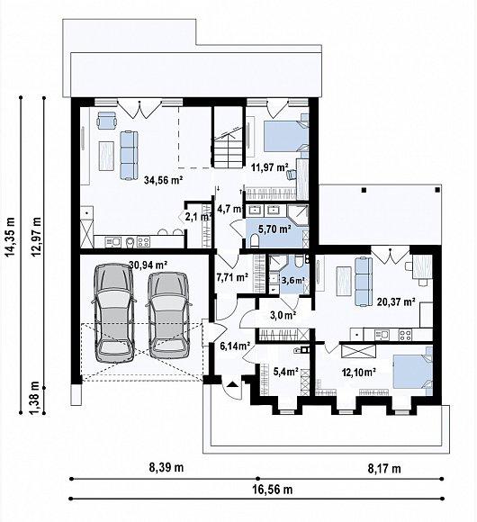 Первый этаж 144,2 м² дома Z463