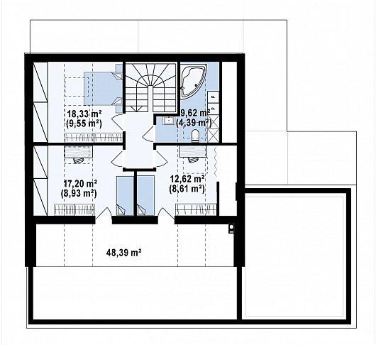 Второй этаж 61,6 м² дома Z463
