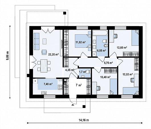 Первый этаж 100,9 м² дома Z473
