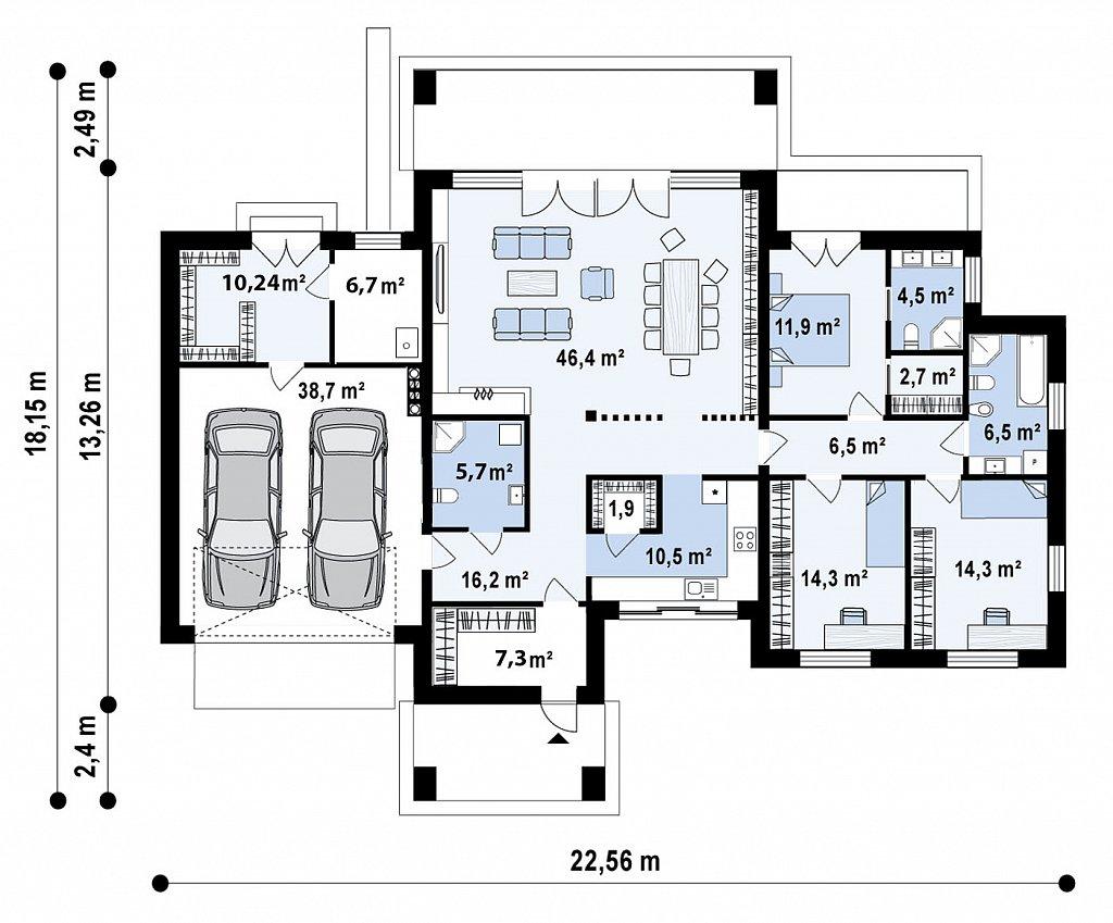 Первый этаж204,6 м дома Zx169