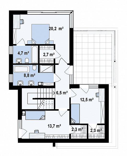 Второй этаж 73,7 м² дома Zx86