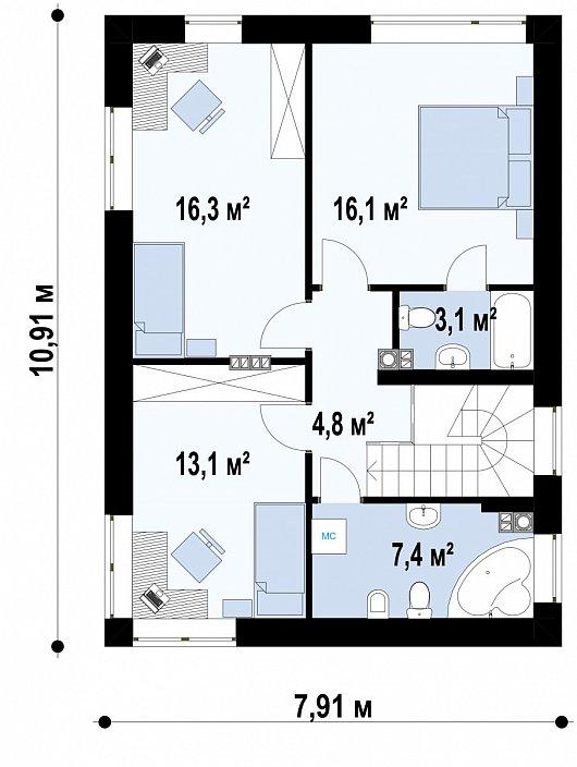 Второй этаж68,5 м дома Zz3A