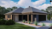 Проект дома с гаражом под одной крышей Z411