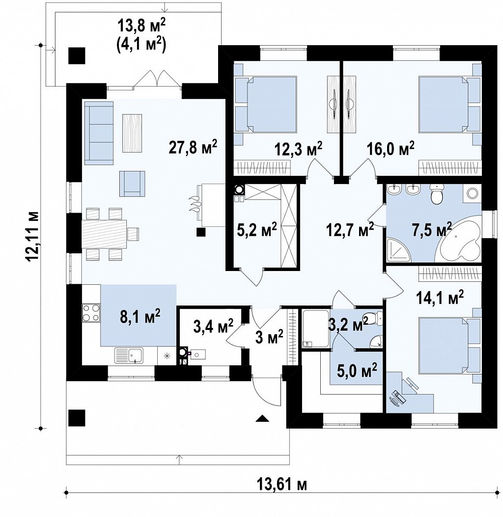 Первый этаж 122,1 м² дома Zz230v1
