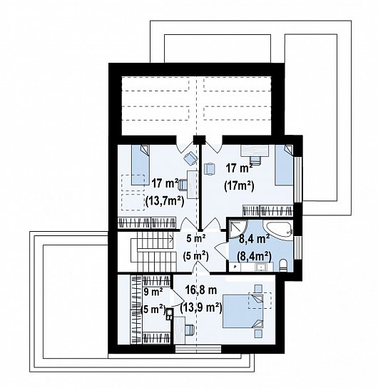 Второй этаж 66,2 м² дома Z422