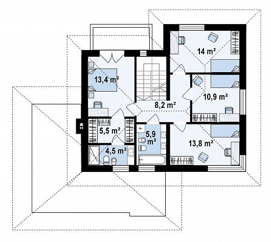 Второй этаж 75,2 м² дома Z426