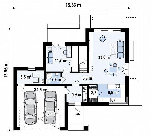 Первый этаж 114,8 м² дома Z426v1