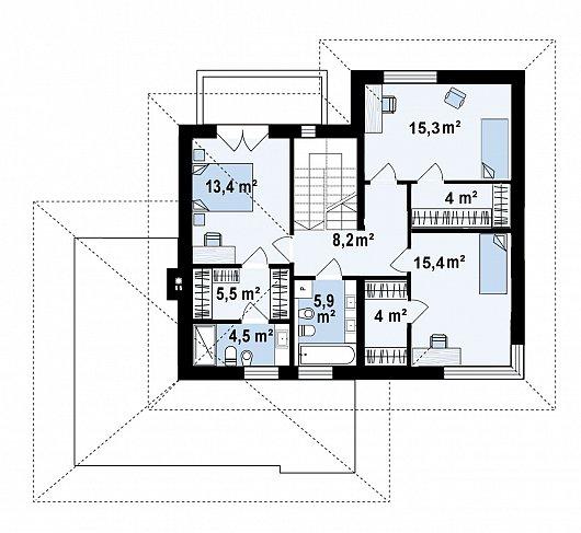 Второй этаж 76,2 м² дома Z426v1
