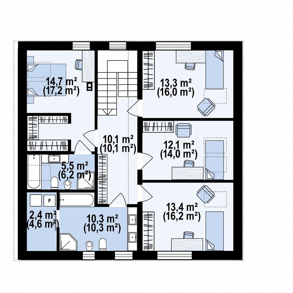 Второй этаж 94,6 м² дома Z432
