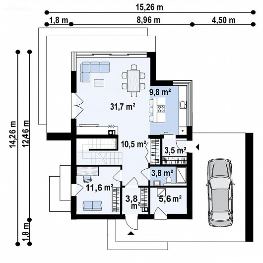 Первый этаж 80,3 м² дома Z467