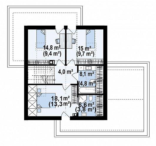 Второй этаж 65,7 м² дома Z467