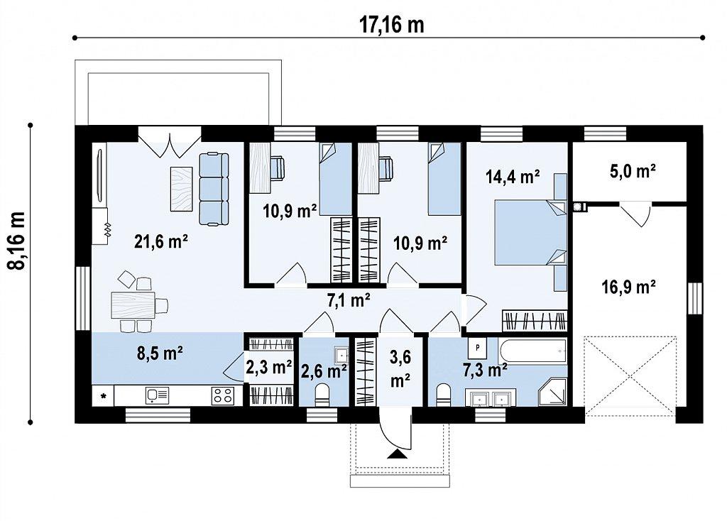 Первый этаж 108,7 м² дома Z488