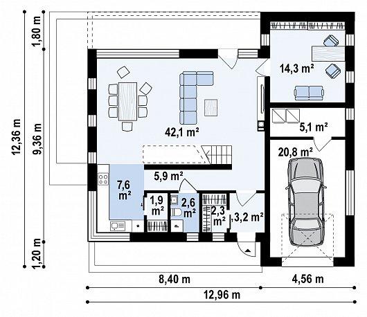 Первый этаж 109,6 м дома Z495