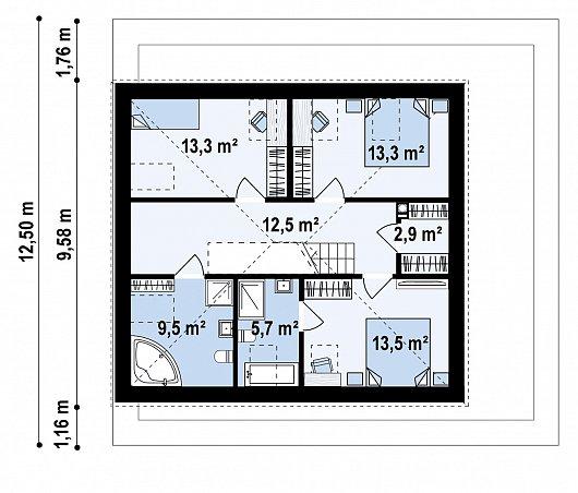 Второй этаж 70,7 м дома Z495