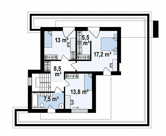 Второй этаж 65,5 м² дома Zx31