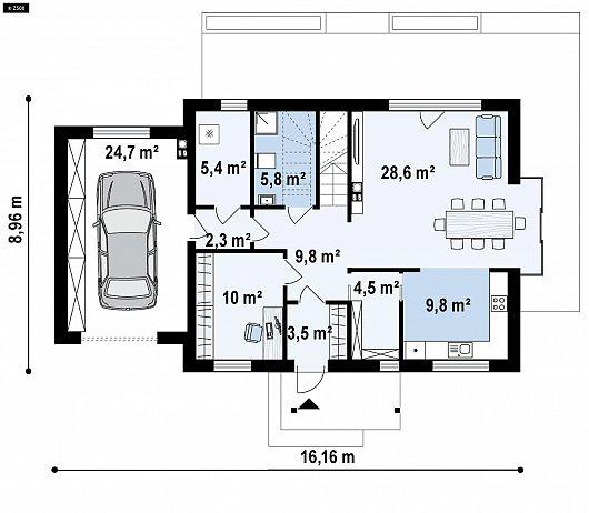 Первый этаж 103,3 м дома Z405