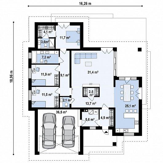 Первый этаж 181,0 м дома Z423