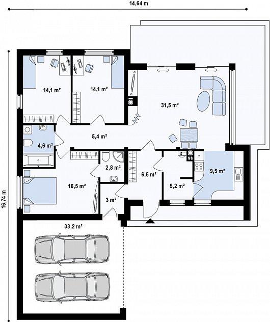 Первый этаж 146,2 м² дома Zx35GL2