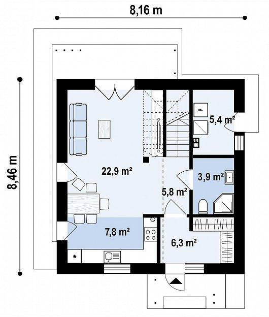 Первый этаж  52,1 м² дома Z437