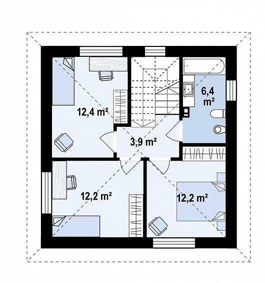 Второй этаж  47,1 м² дома Z437