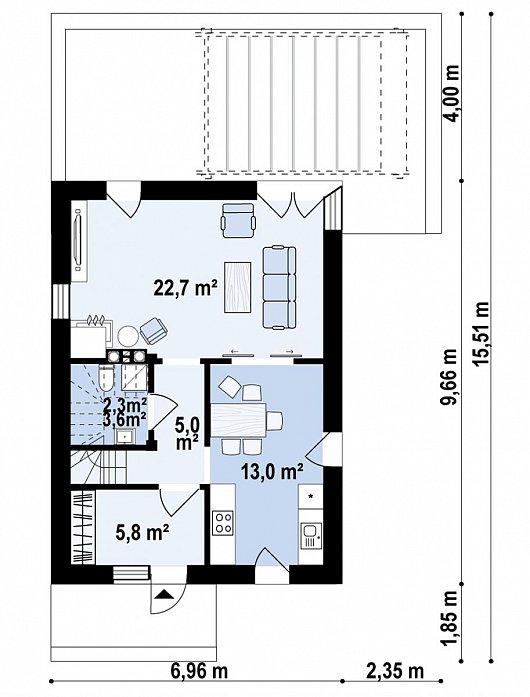 Первый этаж  50,1 м² дома Z489