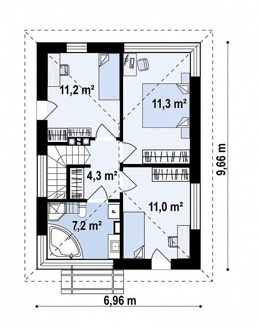 Второй этаж  46,9 м² дома Z489