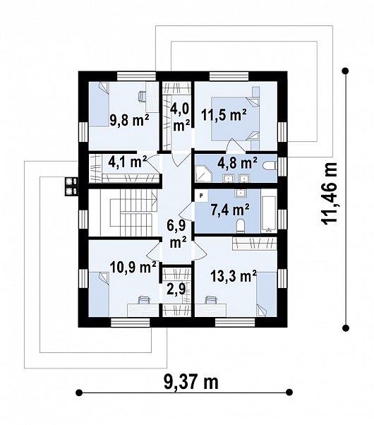 Второй этаж 75,7 м² дома Zx171