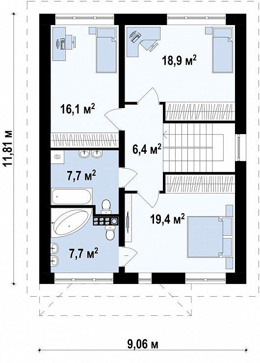 Второй этаж   76,2 м² дома Zx24 a v1