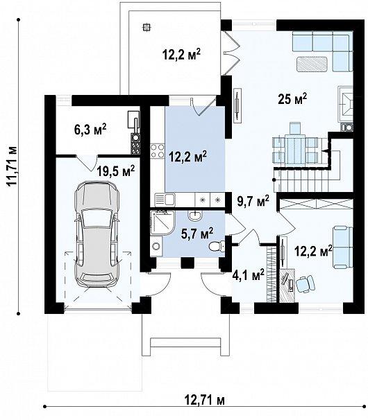 Первый этаж   96,4 м² дома Zx24v1