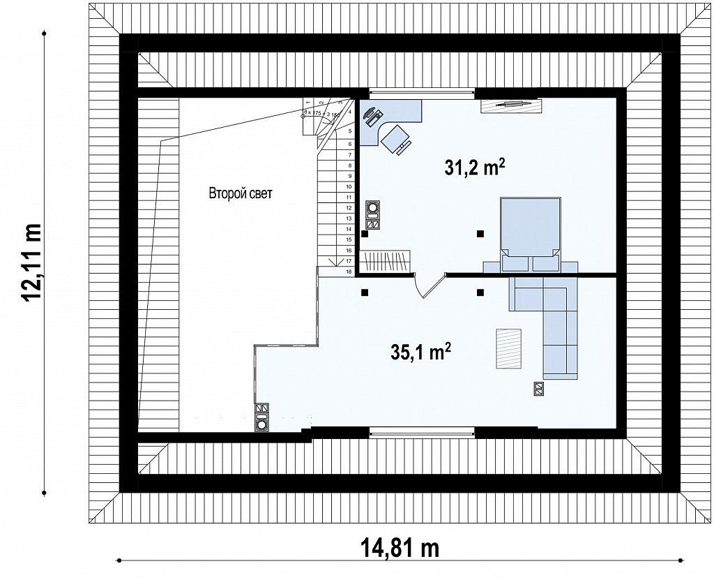 Второй этаж 66,3 м дома Zz230 +