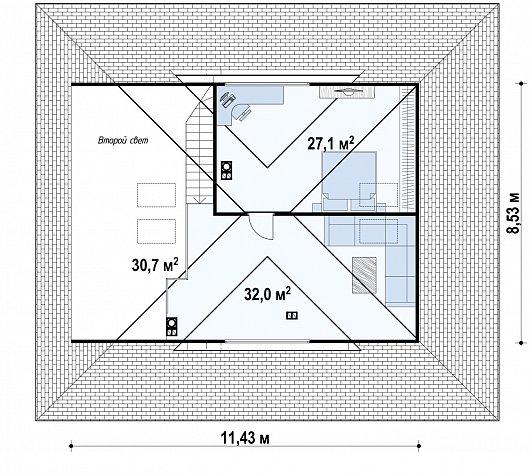 Первый этаж  122,1 м² дома Zz230