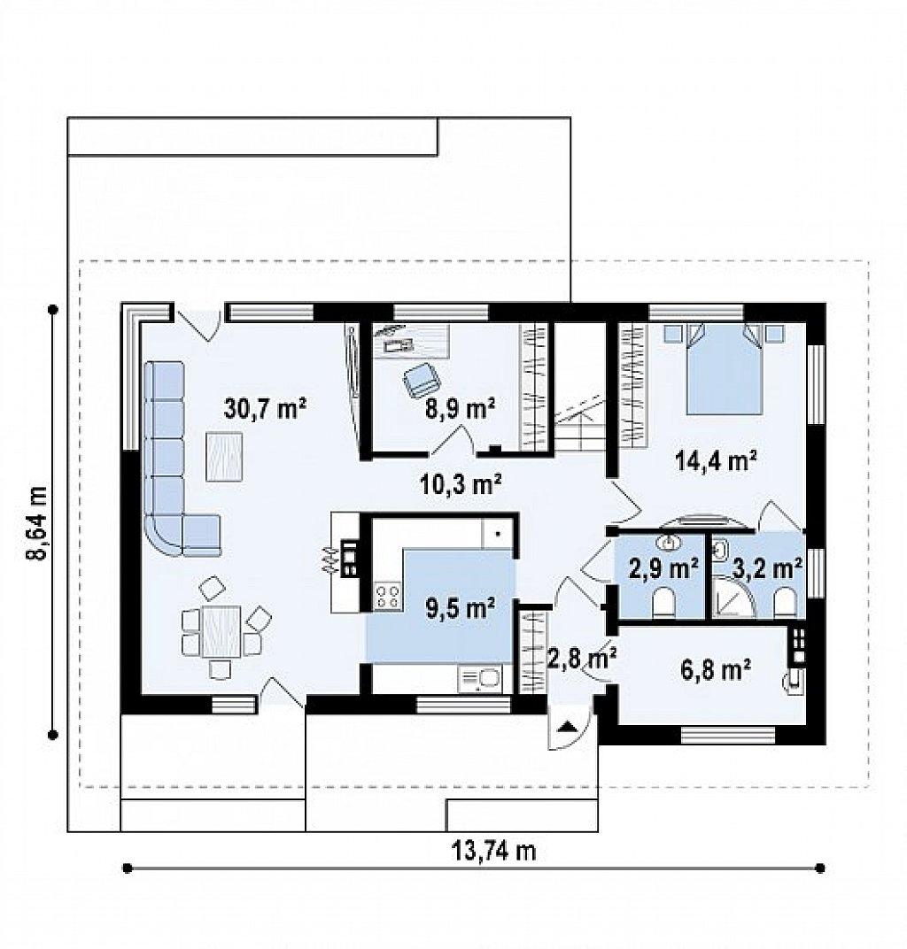 Первый этаж 89,4 м² дома z159 pk