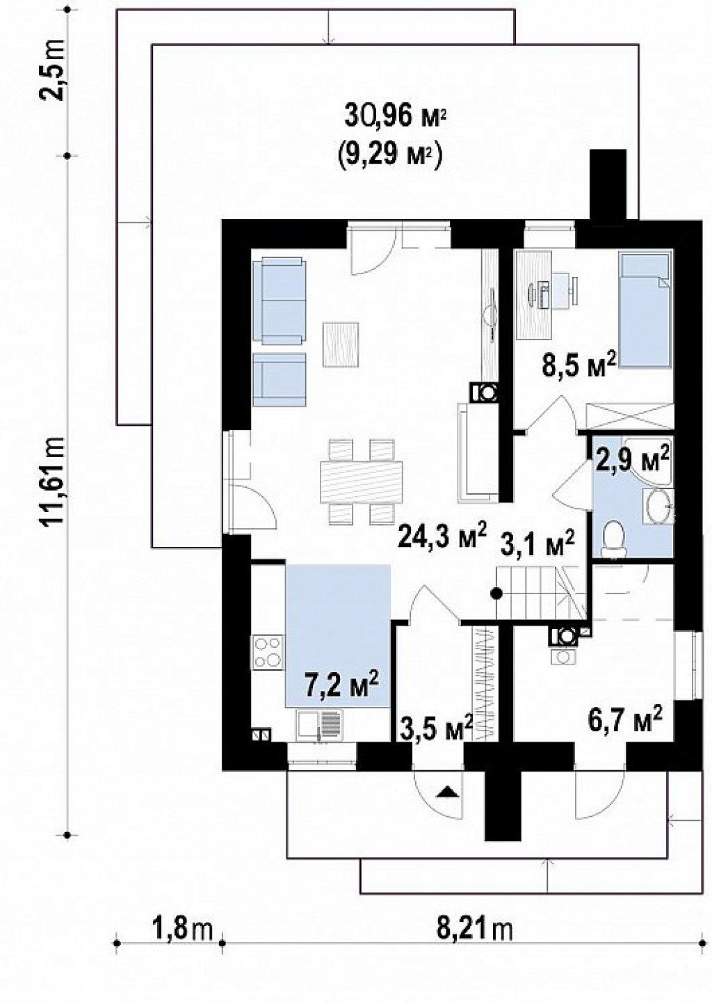 Первый этаж 69,5 м² дома z372 pk