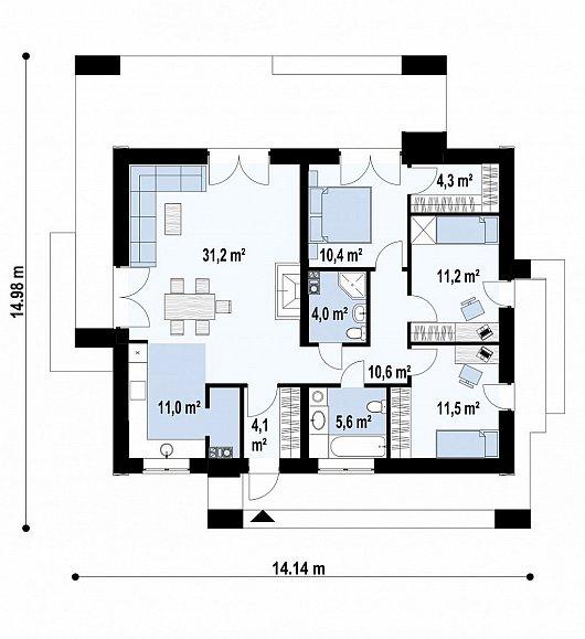 Первый этаж   101,6 м дома Z381
