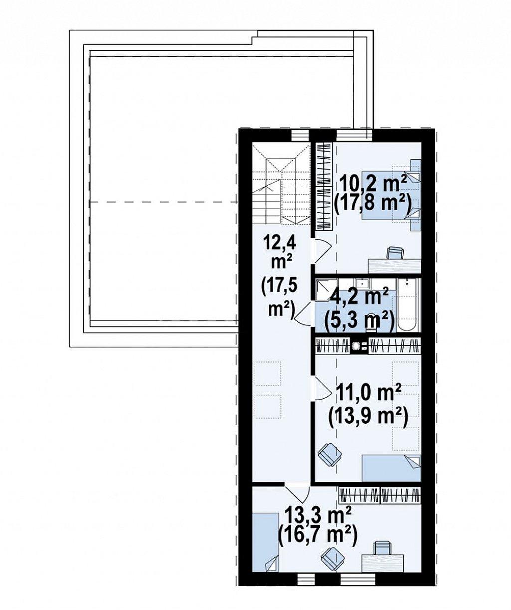 Второй этаж 65,9 м² дома Z433